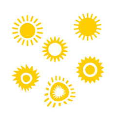 set of sun icon for web design eps 10 vector image