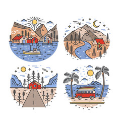 Set of touristic or travel destinations and vector