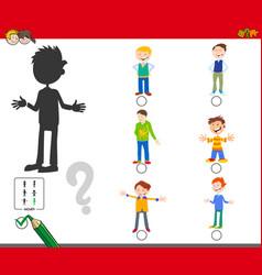 shadows game with cartoon kid boy characters vector image