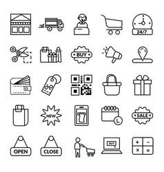 shopping icon set- black linear shopping symbol vector image