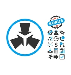 Shrink Arrows Flat Icon with Bonus vector image