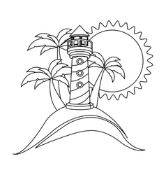silhouette background beach and headlight vector image
