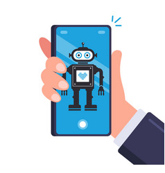Smart robot in men smartphone android on a mobile vector