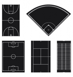 sport field layouts in black vector image