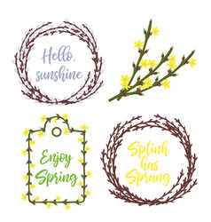 Spring wreaths and frames setlettering and garden vector