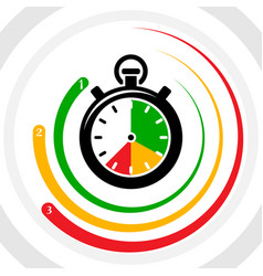 stopwatch top three leader chart infographic vector image