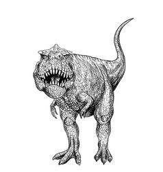 T-rex graphic black ink art hand drawn vector