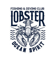 T-shirt diving club print with lobster vector