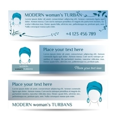 Template three small flyers with woman in turban vector