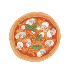 Top view mushroom pizza with champignons vector