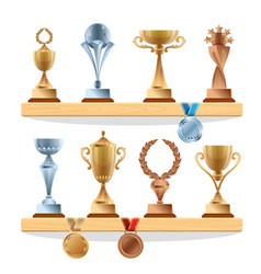Trophy collections on shelf golden bronze vector