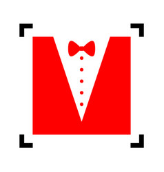 Tuxedo with bow silhouette red icon vector