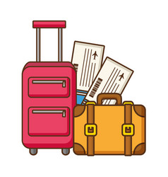 Vacations suitcase bag and air tickets vector