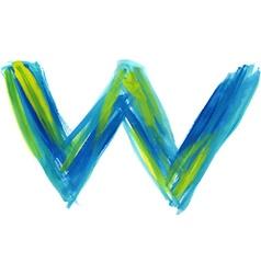 Watercolor Font LETTER W vector image