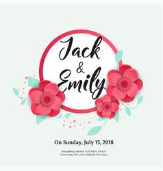 Wedding invitation floral invite card design vector