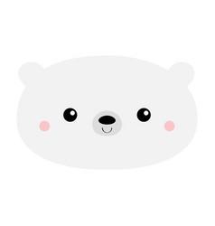 White polar bear kawaii cartoon character funny vector
