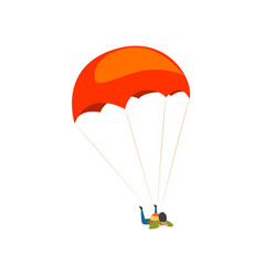 young man flying with a parachute parachuting vector image