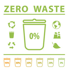 Zero waste icons set with garbage bin vector