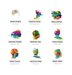 Brain Creative mind man head learning icons vector image vector image