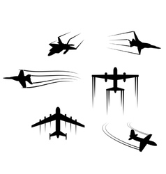 Fast flying planes and jets vector image vector image