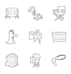 movie production icons set outline style vector image vector image