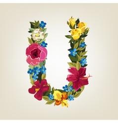 U letter Flower capital alphabet Colorful font vector image vector image