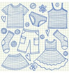 childrens clothes doodles squared paper vector image vector image