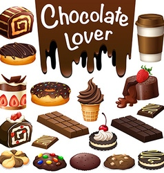 Different kind of dessert chocolate flavor vector image