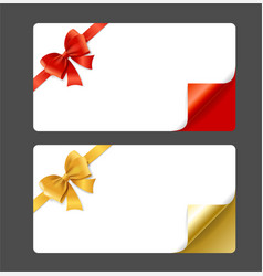 gift card template silk ribbon bow and curved vector image vector image