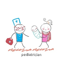 pediatrician stands next to her mother and sick vector image