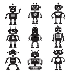 robot silhouettes set vector image vector image