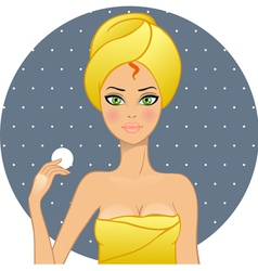 Beautiful women in a towel after a shower vector image