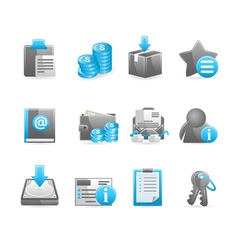 Blue glossy icon set vector image vector image