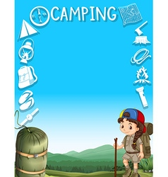 Border design with girl camping out vector