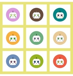 flat icons Halloween set of pumpkin concept on vector image vector image
