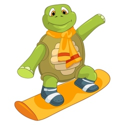 Funny Turtle Snowboarding vector image