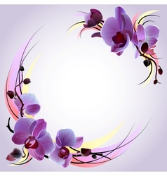 greeting card with violet orchids vector image