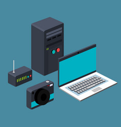 Technology laptop cpu router camera device vector
