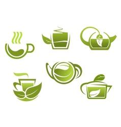 Green tea symbols set vector image
