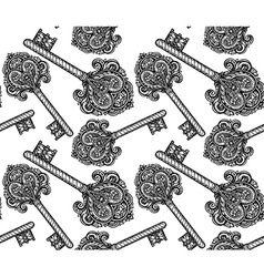 Seamless pattern with hand drawn keys vector image