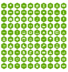 100 urban icons hexagon green vector