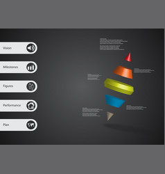 3d infographic template with two spike cone vector