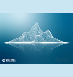 Abstract wireframe mountain with reflection 3d vector