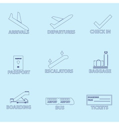 Airport signs for planes outline icons set eps10 vector