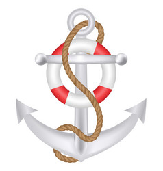 anchor with rope and safety ring logo vector image