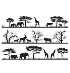 Animals forest silhouette at savanah vector