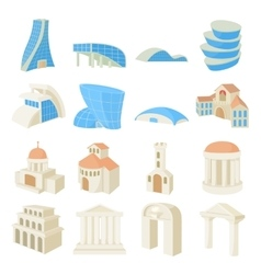 Architecture set icons vector image