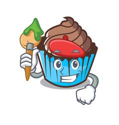 artist chocolate cupcake character cartoon vector image