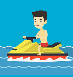 Asian man training on jet ski in the sea vector