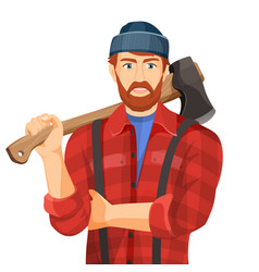 axeman with wooden axe isolated on white vector image